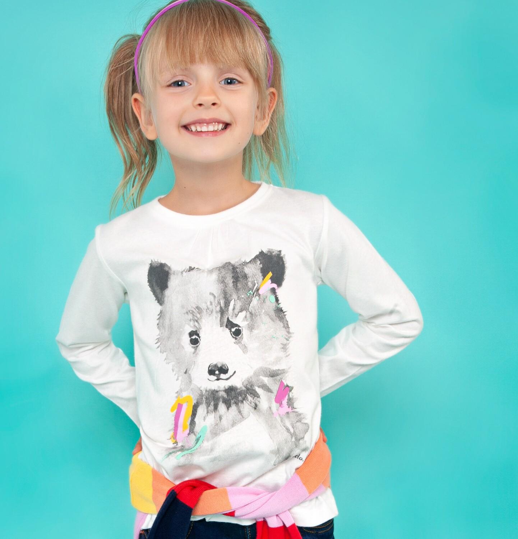 Endo - Bluzka z długim rękawem dla dziewczynki, z misiem, kremowa, 2-8 lat D04G026_1