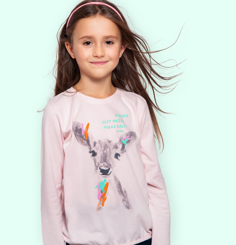 Endo - Bluzka z długim rękawem dla dziewczynki, z sarenką, różowa, 2-8 lat D04G030_1