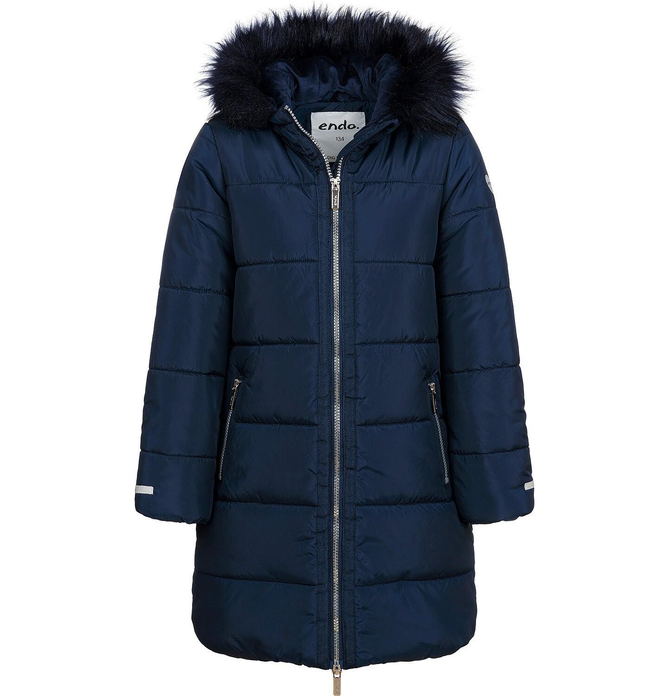 Endo - Długa kurtka zimowa, płaszcz z kapturem dla dziewczynki, granatowy, 9-13 lat D04A002_1