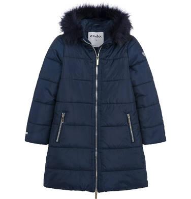 Długa kurtka zimowa, płaszcz z kapturem dla dziewczynki, granatowy, 9-13 lat D04A002_1