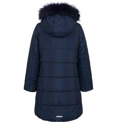 Endo - Długa kurtka zimowa, płaszcz z kapturem dla dziewczynki, granatowy, 9-13 lat D04A002_1,3