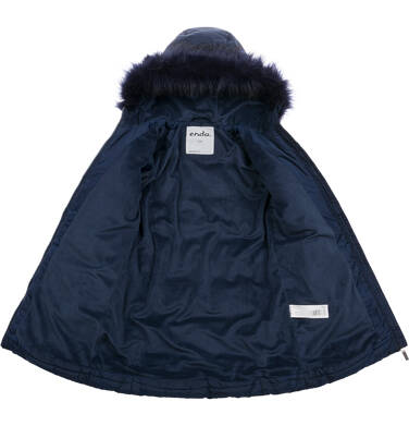 Endo - Długa kurtka zimowa, płaszcz z kapturem dla dziewczynki, granatowy, 9-13 lat D04A002_1,4