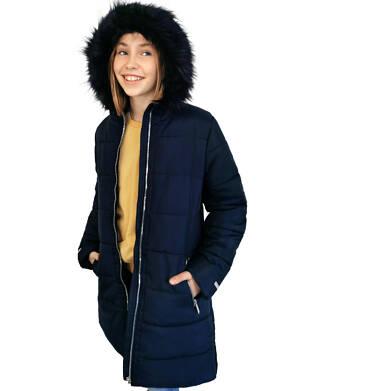Endo - Długa kurtka zimowa, płaszcz z kapturem dla dziewczynki, granatowy, 9-13 lat D04A002_1 10