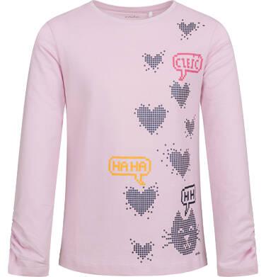 Bluzka dla dziewczynki z długim rękawem, w serca, jasno - fioletowa, 9-13 lat D04G085_1