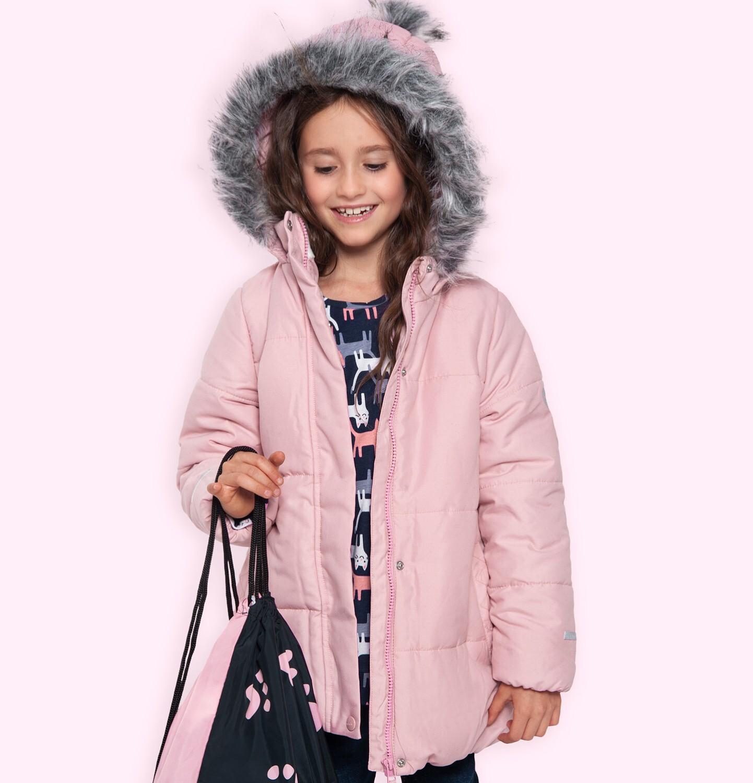 Endo - Długa kurtka zimowa z kapturem dla dziewczynki, różowa, 2-8 lat D04A022_1