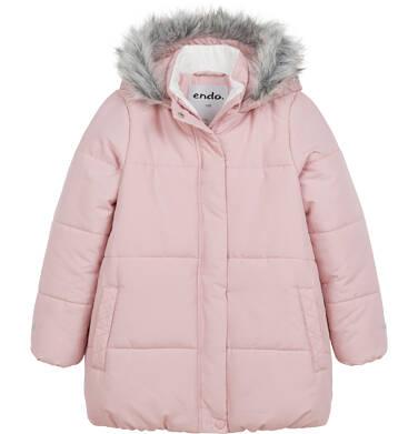 Endo - Długa kurtka zimowa z kapturem dla dziewczynki, różowa, 2-8 lat D04A022_1 9