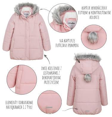 Endo - Długa kurtka zimowa z kapturem dla dziewczynki, różowa, 2-8 lat D04A022_1,5
