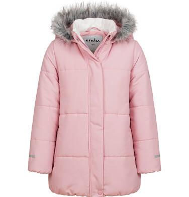 Długa kurtka zimowa z kapturem dla dziewczynki, różowa, 2-8 lat D04A022_1