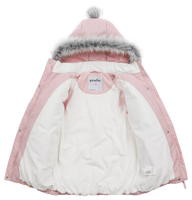Endo - Długa kurtka zimowa z kapturem dla dziewczynki, różowa, 2-8 lat D04A022_1,6