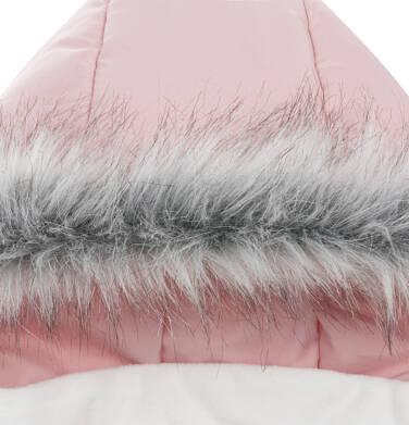 Endo - Długa kurtka zimowa z kapturem dla dziewczynki, różowa, 2-8 lat D04A022_1,7