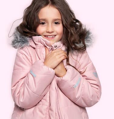 Endo - Długa kurtka zimowa z kapturem dla dziewczynki, różowa, 2-8 lat D04A022_1,2