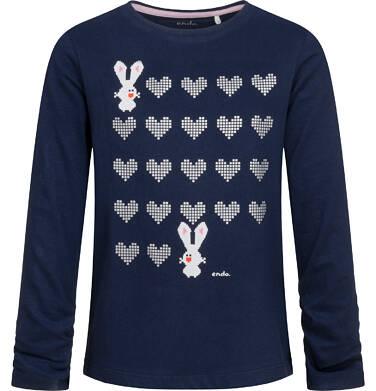 Bluzka dla dziewczynki z długim rękawem, w serca, granatowa, 9-13 lat D04G088_1