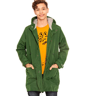 Endo - Przejściowa kurtka parka dla chłopca, z odblaskami, zielona, 9-13 lat C03A501_2,2
