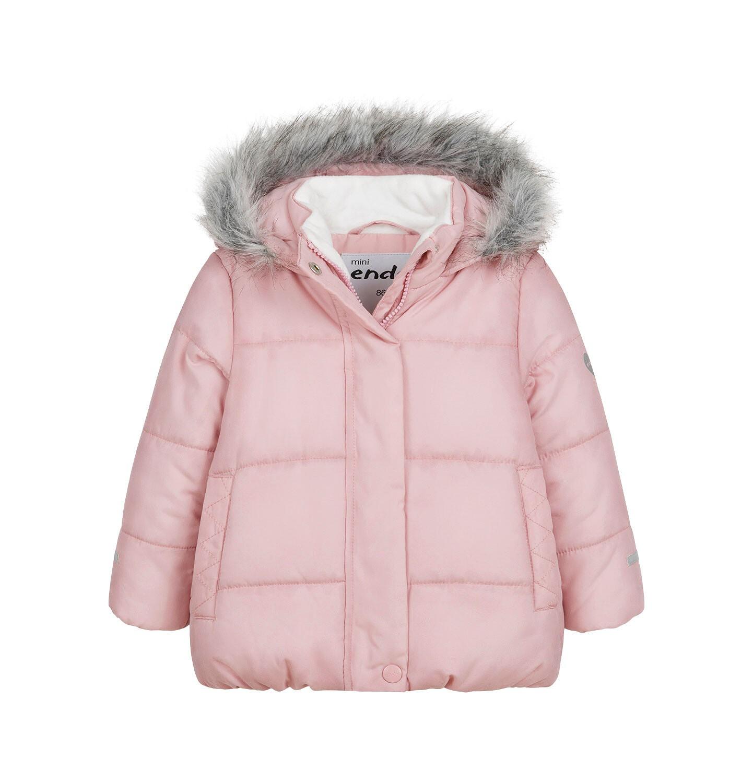 Endo - Długa kurtka zimowa z kapturem dla dziecka do 3 lat, różowa N04A031_1