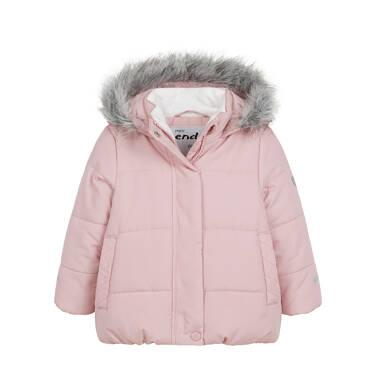 Endo - Długa kurtka zimowa z kapturem dla dziecka do 3 lat, różowa N04A031_1 3