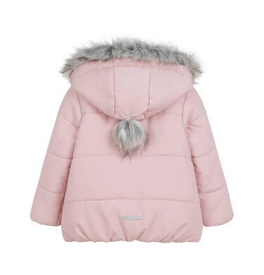 Endo - Długa kurtka zimowa z kapturem dla dziecka do 3 lat, różowa N04A031_1,2