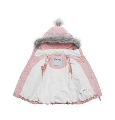 Endo - Długa kurtka zimowa z kapturem dla dziecka do 3 lat, różowa N04A031_1,3