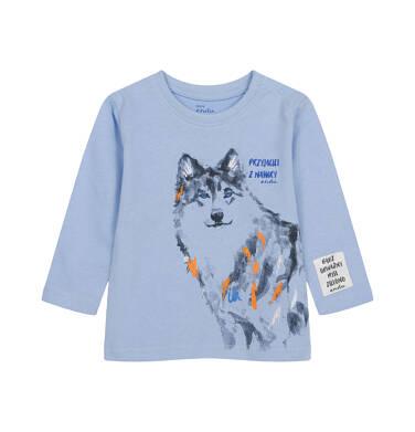 T-shirt z długim rękawem dla dziecka do 2 lat, z wilkiem N04G011_1
