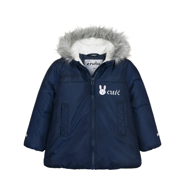 Endo - Długa kurtka zimowa z kapturem dla dziecka do 3 lat, granatowa N04A032_1