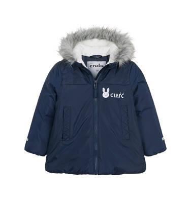 Endo - Długa kurtka zimowa z kapturem dla dziecka do 3 lat, granatowa N04A032_1 1