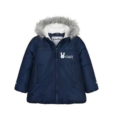 Endo - Długa kurtka zimowa z kapturem dla dziecka do 3 lat, granatowa N04A032_1 2