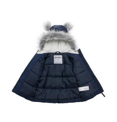 Endo - Długa kurtka zimowa z kapturem dla dziecka do 3 lat, granatowa N04A032_1,3