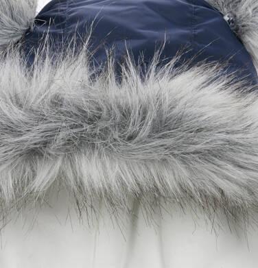 Endo - Długa kurtka zimowa z kapturem dla dziecka do 3 lat, granatowa N04A032_1,4