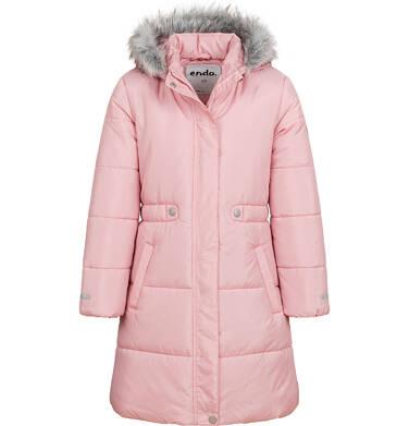 Długa kurtka zimowa, płaszcz z kapturem dla dziewczynki, różowy, 2-8  lat D04A017_2
