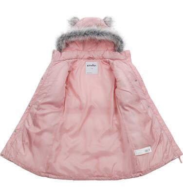 Endo - Długa kurtka zimowa, płaszcz z kapturem dla dziewczynki, różowy, 2-8  lat D04A017_2,4