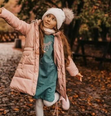 Endo - Długa kurtka zimowa, płaszcz z kapturem dla dziewczynki, różowy, 2-8  lat D04A017_2 9