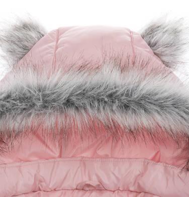 Endo - Długa kurtka zimowa, płaszcz z kapturem dla dziewczynki, różowy, 2-8  lat D04A017_2,5
