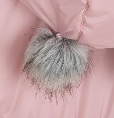 Endo - Długa kurtka zimowa, płaszcz z kapturem dla dziewczynki, różowy, 2-8  lat D04A017_2,7
