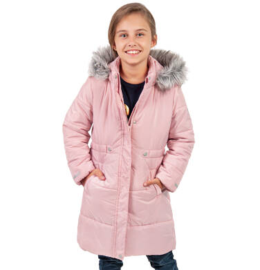 Endo - Długa kurtka zimowa, płaszcz z kapturem dla dziewczynki, różowy, 2-8  lat D04A017_2,6
