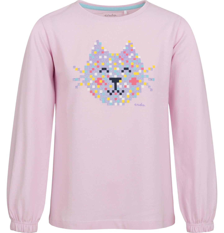 Endo - Bluzka dla dziewczynki z długim rękawem, jasno - fioletowa, z kotem,  2-8 lat D04G097_1