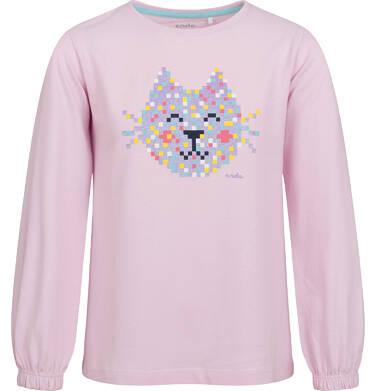 Endo - Bluzka dla dziewczynki z długim rękawem, jasno - fioletowa, z kotem,  2-8 lat D04G097_1 32