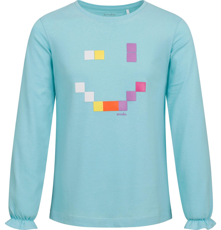 Endo - Bluzka dla dziewczynki z długim rękawem, z uśmieche, niebieska, 2-8 lat D04G179_1