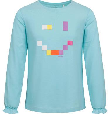Endo - Bluzka dla dziewczynki z długim rękawem, z uśmieche, niebieska, 2-8 lat D04G179_1 17