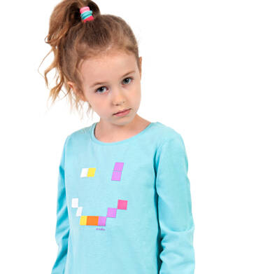 Endo - Bluzka dla dziewczynki z długim rękawem, z uśmieche, niebieska, 2-8 lat D04G179_1 5
