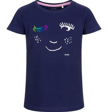 Endo - Bluzka z krótkim rękawem dla dziewczynki, z motywem oczu, granatowa, 2-8 lat D03G018_2