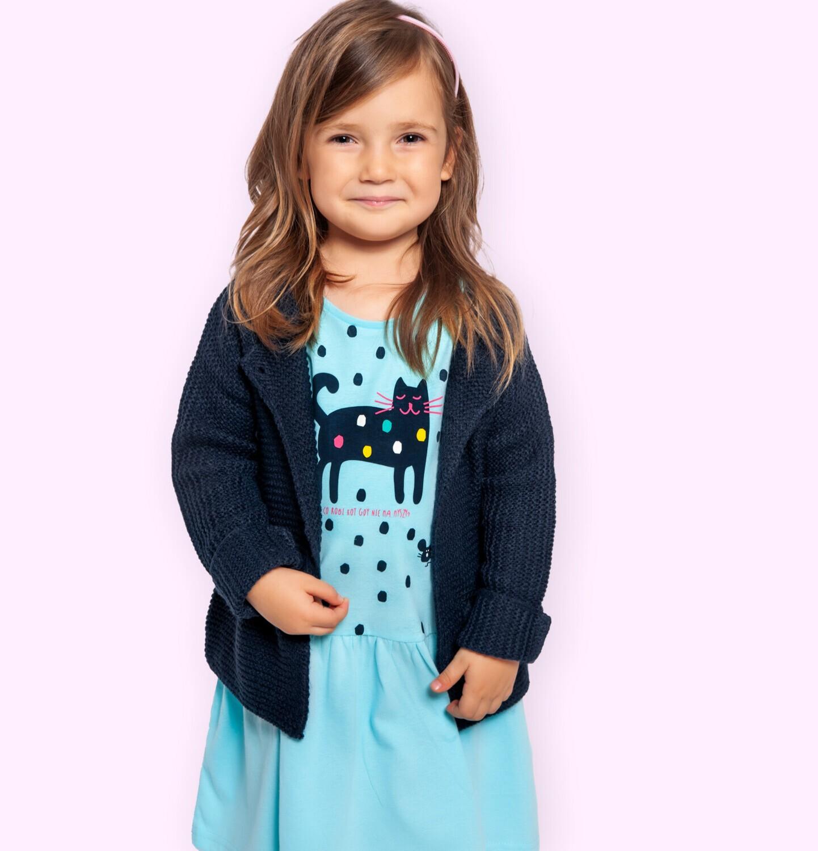Endo - Sukienka z krótkim rękawem dla dziewczynki, z kotem, niebieska w kropki, 2-8 lat D05H053_1
