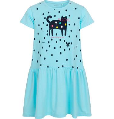 Sukienka z krótkim rękawem dla dziewczynki, z kotem, niebieska w kropki, 2-8 lat D05H053_1