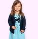 Endo - Sukienka z krótkim rękawem dla dziewczynki, z kotem, niebieska w kropki, 2-8 lat D05H053_1,1