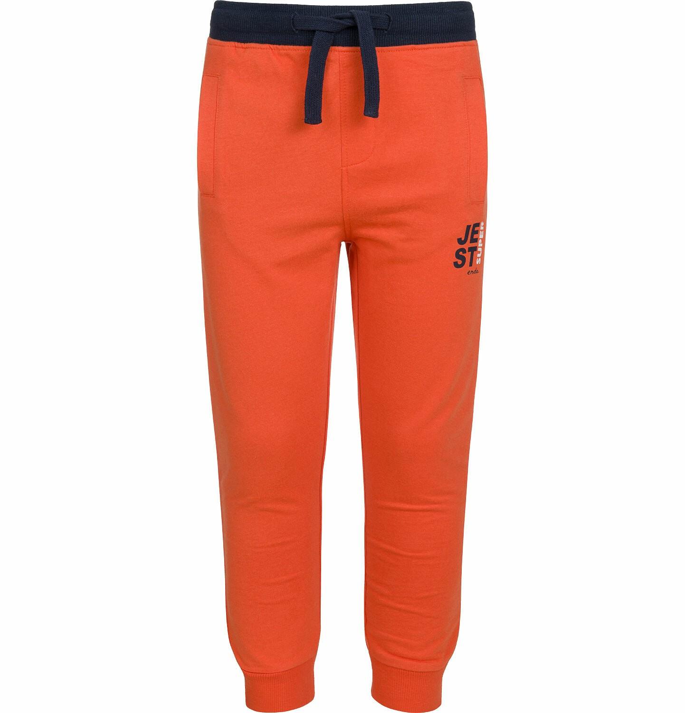 Endo - Spodnie dresowe dla chłopca, kontrastowe ściągacze, pomarańczowe, 2-8 lat C03K025_2