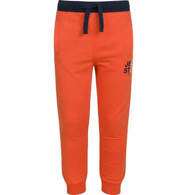 Endo - Spodnie dresowe dla chłopca, kontrastowe ściągacze, pomarańczowe, 2-8 lat C03K025_2 26