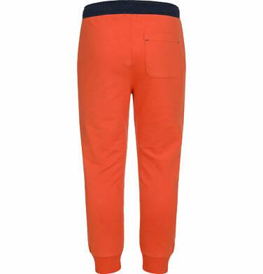 Endo - Spodnie dresowe dla chłopca, kontrastowe ściągacze, pomarańczowe, 2-8 lat C03K025_2,3