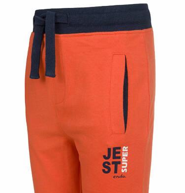 Endo - Spodnie dresowe dla chłopca, kontrastowe ściągacze, pomarańczowe, 2-8 lat C03K025_2 88