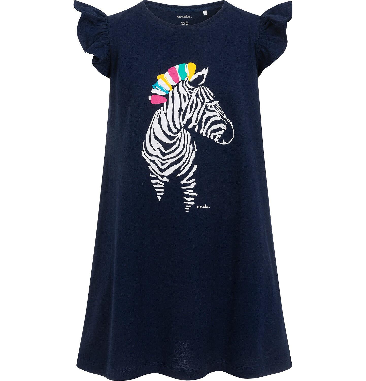 Endo - Dżersejowa sukienka z krótkim rękawem dla dziewczynki, z zebrą, granatowa, 2-8 lat D05H038_1