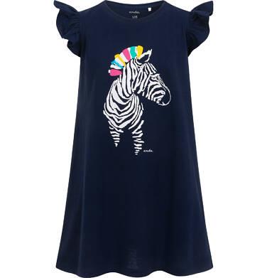 Dżersejowa sukienka z krótkim rękawem dla dziewczynki, z zebrą, granatowa, 2-8 lat D05H038_1