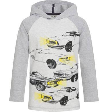 Endo - Koszulka z długim rękawem i kapturem dla chłopca, z samochodami, szara, 9-13 lat C92G571_1