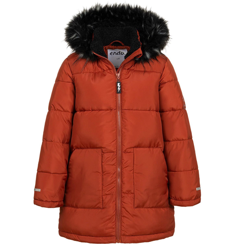 Endo - Długa kurtka zimowa dla chłopca, ceglany pomarańczowy, 2-8 lat C04A014_2